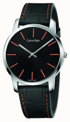Calvin Klein Ville Gents bracelet en cuir noir cadran noir K2G211C1