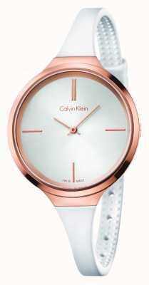 Calvin Klein Bracelet en caoutchouc blanc Mesdames animé K4U236K6