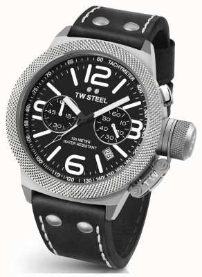 TW Steel Gents cantine 45mm chrono bracelet en cuir noir CS3