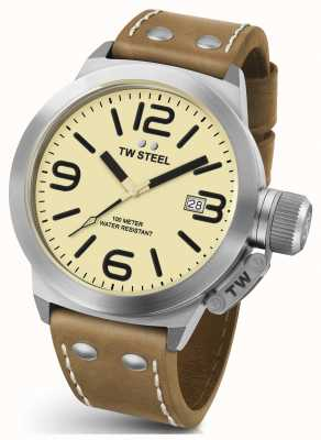 TW Steel Gents cantine 50mm sangle chrono cuir marron CS12