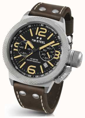 TW Steel Gents cantine 50mm sangle chrono cuir marron CS34