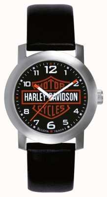 Harley Davidson Mens cuir noir bracelet de montre 76A04