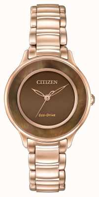 Citizen Eco-drive rose cercle or brun de temps EM0382-86X