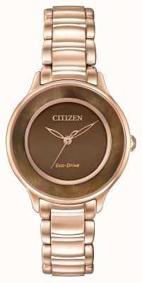 Citizen Eco-drive rose cercle or brun de temps EM0382-86X