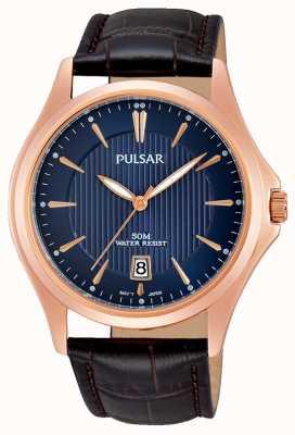 Pulsar Mens cadran bleu brun bracelet en cuir PS9388X1
