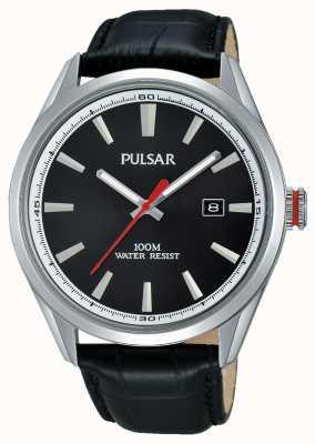 Pulsar Gents bracelet en cuir noir cadran noir PS9375X1
