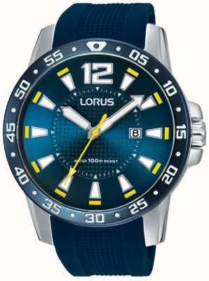 Lorus Gents cadran bleu bracelet en caoutchouc bleu RH935FX9