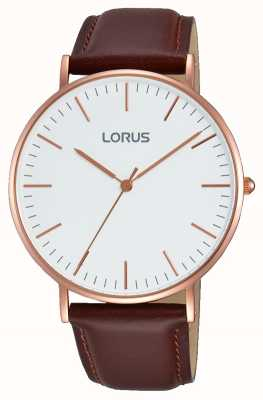 Lorus Gents bracelet en cuir brun cadran blanc RH880BX9