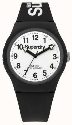 Superdry Mens bracelet noir urbaine cadran blanc SYG164BW