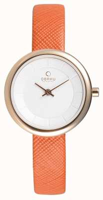 Obaku Femmes cuir orange rose PVD or V146LXVIRO