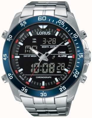 Lorus Mens en acier inoxydable double fuseau horaire RW623AX9