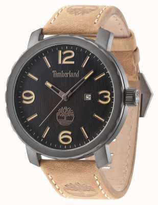 Timberland Mens pinkerton bracelet en cuir brun cadran noir 14399XSU/02