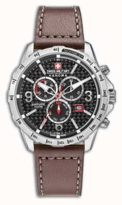 Swiss Military Hanowa Mens ace bracelet en cuir brun cadran noir 6-4251.04.007
