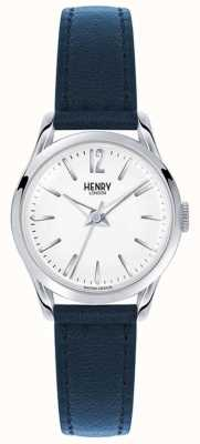 Henry London Knightsbridge bracelet en cuir bleu cadran blanc HL25-S-0027