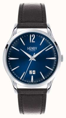 Henry London Montre Knightsbridge | bracelet en cuir marron | HL41-JS-0035