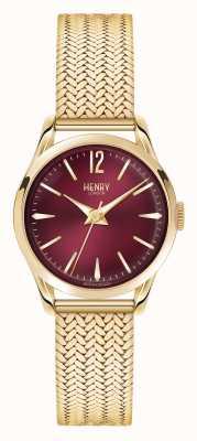 Henry London Or plaqué Holborn maillage cadran rouge profond HL25-M-0058