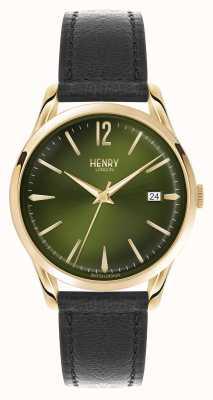 Henry London Chiswick bracelet en cuir noir cadran vert HL39-S-0100