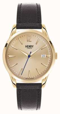 Henry London Westminster bracelet en cuir brun champagne HL39-S-0006