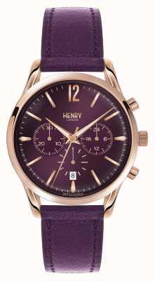 Henry London Hampstead cuir violet bracelet chronographe HL39-CS-0092