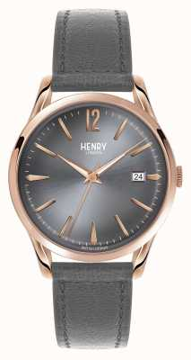 Henry London Finchley bracelet en cuir gris cadran gris HL39-S-0120