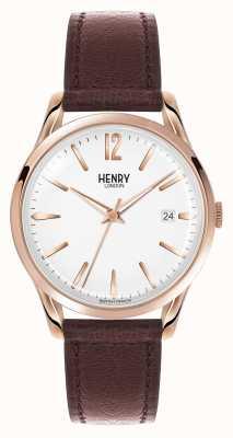 Henry London Bracelet cuir marron Richmond cadran blanc HL39-S-0028