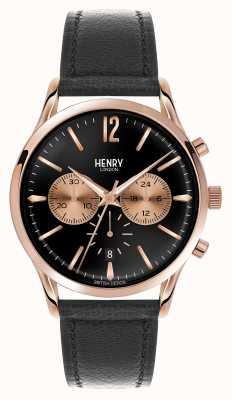 Henry London Richmond bracelet en cuir noir chronographe HL41-CS-0042
