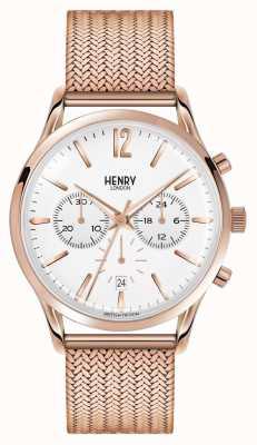 Henry London Richmond plaqué or rose en maille chronographe HL41-CM-0040