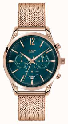 Henry London Stratford plaqué or rose en maille chronographe HL39-CM-0142