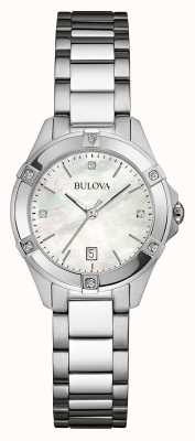 Bulova Womens diamant en acier inoxydable fixé dia argent 96W205