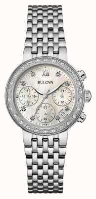 Bulova Womens acier inoxydable ensemble de diamant chrono 96W204