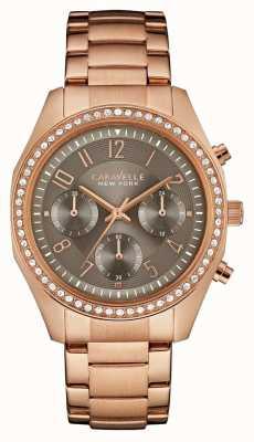 Caravelle New York Womens rose cristal chronographe en or 44L195