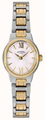Rotary Womens deux tons bracelet cadran blanc LB02747/01