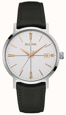 Bulova Mens bracelet en cuir noir cadran blanc 98B254