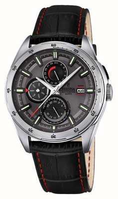 Festina Mens cuir noir cadran bracelet multifonction F16877/3