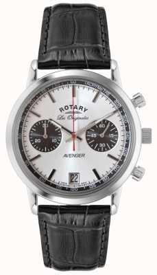 Rotary Mens avenger bracelet en cuir noir chrono GS90130/06