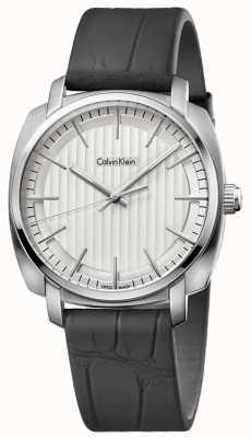 Calvin Klein Cuir noir cadran bracelet en argent de Mens K5M311C6