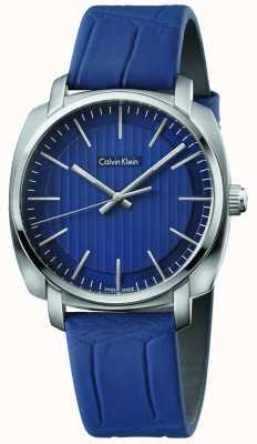 Calvin Klein Bracelet en cuir bleu cadran bleu de Mens K5M311VN