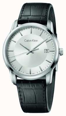 Calvin Klein Mens infinie cuir noir cadran bracelet en argent K5S311C6