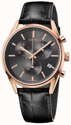 Calvin Klein Formalité Mens bracelet en cuir noir chrono K4M276C3
