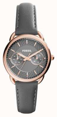 Fossil Femmes tailleur gris bracelet en cuir cadran gris ES3913