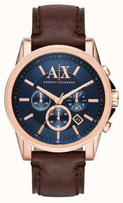 Armani Exchange Mens bleu chronographe brun foncé AX2508