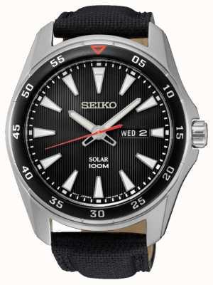 Seiko Mens solaire bracelet en toile noire SNE393P2