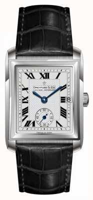 Dreyfuss Mens cuir noir cadran bracelet en argent DGS00140/06