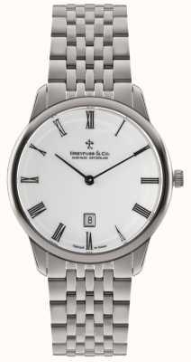 Dreyfuss Mens bracelet en acier inoxydable cadran blanc DGB00135/01