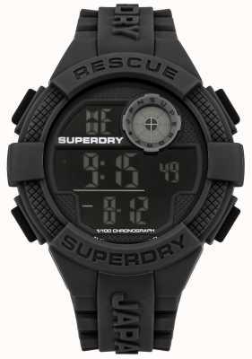 Superdry Mens bracelet en caoutchouc noir numérique SYG193B