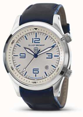 Elliot Brown Mens CANFORD cuir bleu cadran blanc 202-001-L06