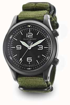 Elliot Brown Mens CANFORD vert sangle en nylon cadran noir 202-004-N01