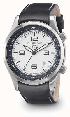 Elliot Brown Mens CANFORD cuir noir cadran blanc 202-005-L02