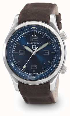 Elliot Brown Cadran bleu en cuir marron canford homme 202-007-L07