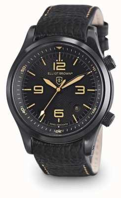 Elliot Brown Mens CANFORD cuir noir cadran noir 202-008-L11